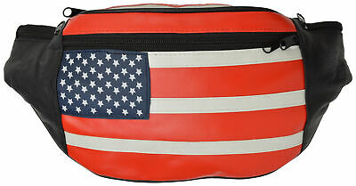 Genuine Leather USA Flag Fanny Pack with Adjustable Belt Waist Travel Bag Pouch