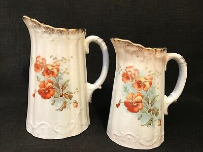 Pair Of Antique Victorian Graduated Floral Jugs Decorated With Pansies