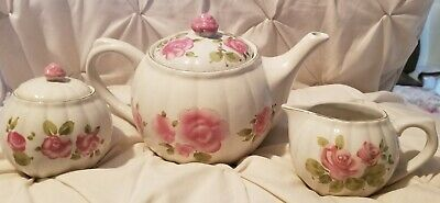 Gibson Teapot Sugar Bowl Creamer Roses Flowers   Microwave Dishwasher Safe