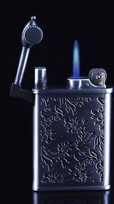 Blue Jet Flame Stainless Flip Top Vintage Style Gas Butane Lighter Refillable
