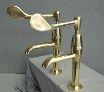 Stunning Large Lever Brass  Pillar Taps, Kitchen Taps  Reclaimed, Fully Refurbed