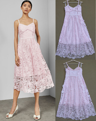 094e50aff LIMITED QTY AUTH TED BAKER VALENS Mixed lace midi dress Pale Pink Sz ...