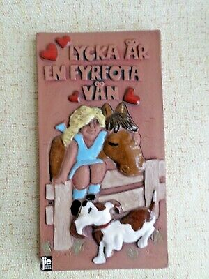 Jie Gantofta Swedish Vintage Ceramic Wall Plaque / Ceramic Tile  with Girl, Hors