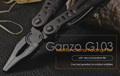 Ganzo G103 Multifunctional Folding Plier Tool with 10pcs Screwdriver Bits