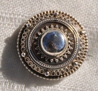Beautiful Vintage Antique Silver Filigree Reliquary Pin Brooch, Round