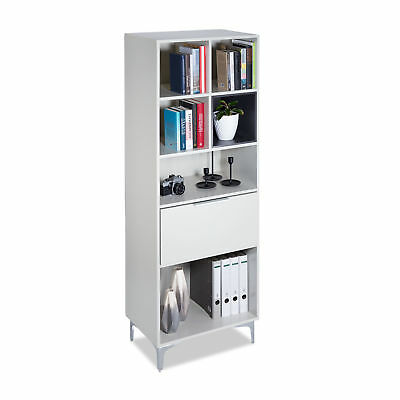 Tall Office Cabinet Cubus, Free-Standing Bookshelf, Cupboard, Bright Grey