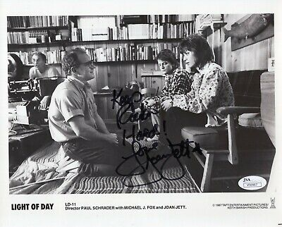 JOAN JETT AUTHENTIC SIGNED 8x10 PHOTO       WITH MICHAEL J. FOX     RARE     JSA