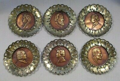Set Of 6 Vintage Brass & Copper Hanging Wall Plates With Composers England (B6)