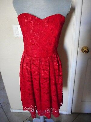 df2277f398f Free People Lovers + Friends M NWOT Strapless Short Red Lace Dress