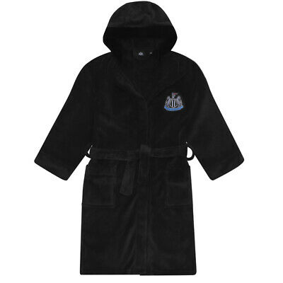 Newcastle United FC Official Football Gift Boys Hooded Fleece Dressing Gown Robe