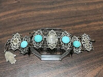 Antique Filigree Silver Plated Middle Eastern Bracelet
