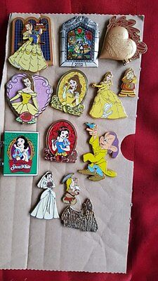 Disney Pin Trading Set, Lot of Beauty, Belle and the Beast, Snow Withe LE, Rare