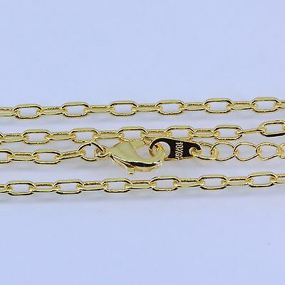 2mm High quality Unisex Real 18K Gold Plated Thin Necklace Chain 20+2 inches