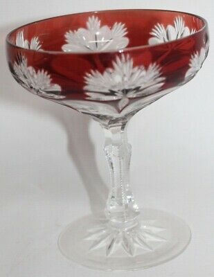 Vintage RUBY RED Cut To Clear CHAMPAGNE GLASS Sherbet BOHEMIAN