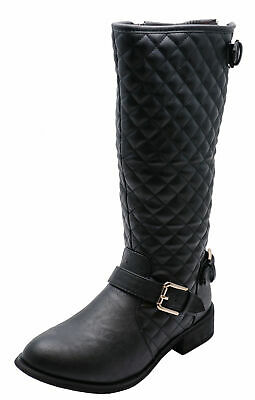 Ladies Black Quilted Knee-High Zip-Up Riding Boots Smart Casual Shoes Sizes 3-8