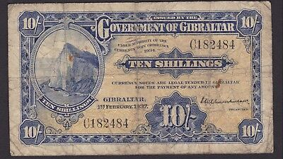 1937 | Gibraltar 10/- Ten Shillings Bank Note 'Scarce' 'First Issue' | KM Coins