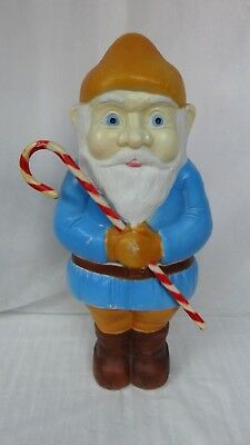 """28"""" Blue Gnome Elf Candy Cane Lighted Christmas Blow Mold Outdoor Yard Decor"""