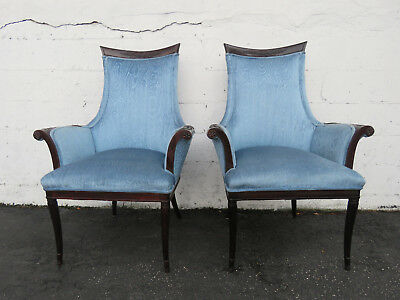 Pair of French Carved Living Bed Room Fireplace Side Chairs 9115