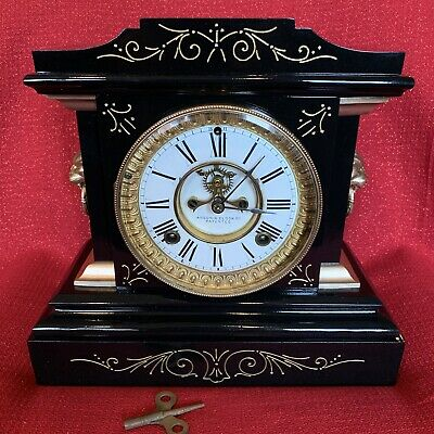 Antique ANSONIA Clock Co LA FRANCE Victorian Mantle 1882 8 Day Running Restored