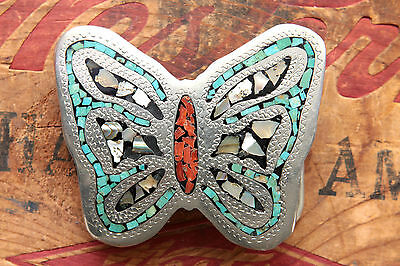 Vtg Large Hand Made Butterfly Turquoise Coral Abalone Inlay Western Belt Buckle