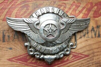Vintage Harley Davidson Fat Boy Star Wings Bikers Belt Buckle
