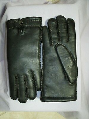 Women's Warm Thick  Winter Leather- Like Black Gloves Lined Size M/7 NEW