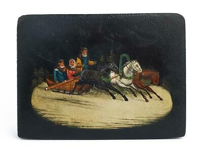 Antique RUSSIAN HAND-PAINTED Signed SNUFF / TOBACCO BOX c1900 TROIKA SCENE