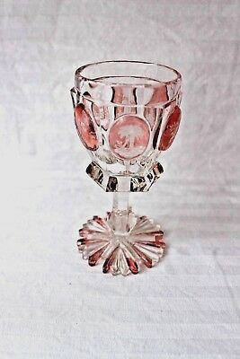 Antique Bohemian Biedermeyer cut glass pink panelled chalice 1840-1850