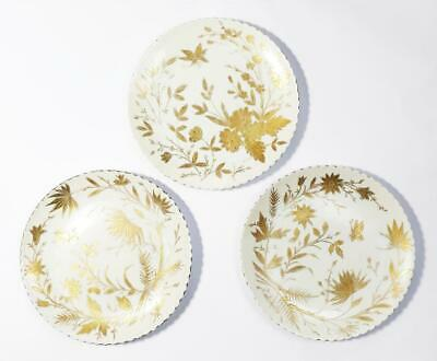 3x VIENNA PORCELAIN AESTHETIC MOVEMENT Gilt FLORAL DISHES c1890