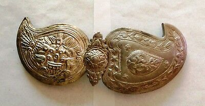Antique 18c. Lot of two Handmade Silver Alloy Parts of Belt Buckle.