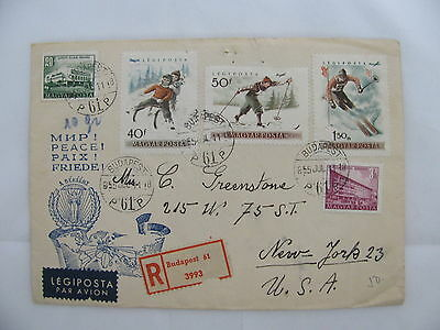 airmail R-cvr Magyar Hungary sledding cross-country Skiing Budapest New York '55