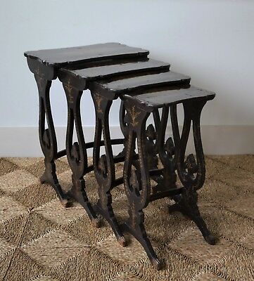 Four 19th C Chinoiserie Chinese Oriental Ebonised Nest of Side Sofa Lamp Tables