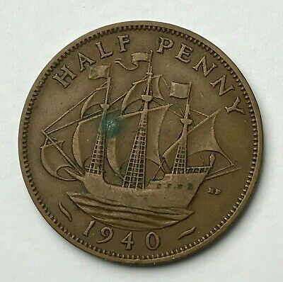 Dated : 1940 - Half Penny - 1/2d Coin - King George VI - Great Britain