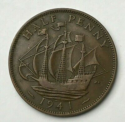 Dated : 1941 - Half Penny - 1/2d Coin - King George VI - Great Britain