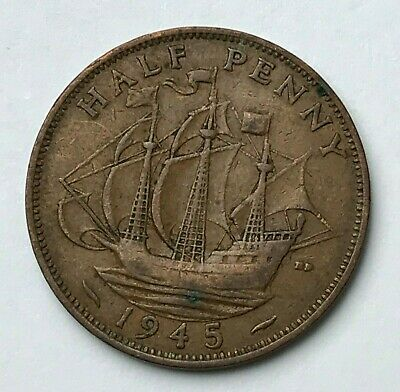 Dated : 1945 - Half Penny - 1/2d Coin - King George VI - Great Britain