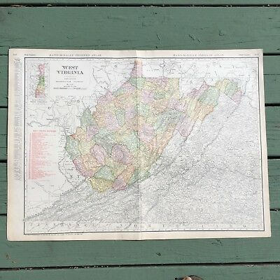 """Large Antique Map of West Virginia from 1911 Rand-McNally Atlas 28.25"""" x 20.5"""""""