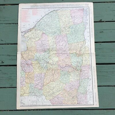 """Large Antique Map of Upstate New York 1911 Rand-McNally Atlas 28.25"""" x 20.5"""""""
