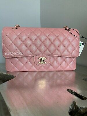 6a018d4533f1 CHANEL 19S Iridescent Pink Caviar Medium Classic Double Flap Bag 2019 Pearly  CC