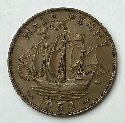 Dated : 1952 - Half Penny - 1/2d Coin - King George VI - Great Britain