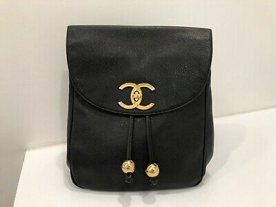 ca58501cfbae Authentic Vintage CHANEL Black Caviar Timeless Backpack Gold CC Hardware