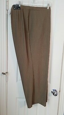 *NEW* Avenue Womans Pants Size 24 Brown Polyester Stretch Slim Leg Career Slacks