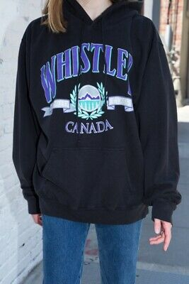 daa51ad42fb brandy melville black oversize fleece Christy whistler Canada hoodie  sweatshirt