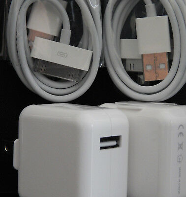 Lot of 2 Rapid Wall Charger Adapter & 30 Pin USB Cables for iPad 1st 2nd 3rd Gen