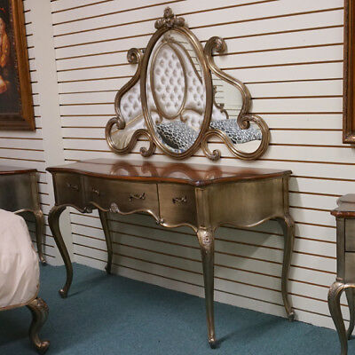 Amazing French Mahogany wood Vanity with Mirror in stunning silver leaf