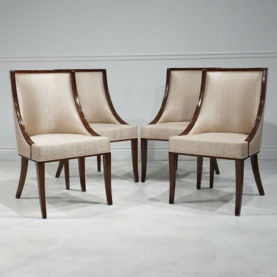 Stunning Set of 4 Mahogany Wood dining chairs with Curved arms