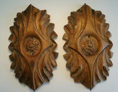 Antique Wooden Panel Plaques Two Carved Wood Architectural Salvage