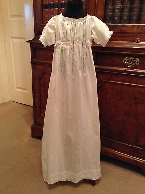 Vintage Antique Christening Gown Dress with Swiss Embroidery & Lace