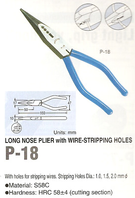 Hozan P-18 Cutting Pliers with 3 Wire Stripping Holes, 150mm (Discontinued)
