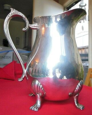 Vintage Leonard Silverplate Hollowware Footed 4-Toed Pitcher with Ice Lip