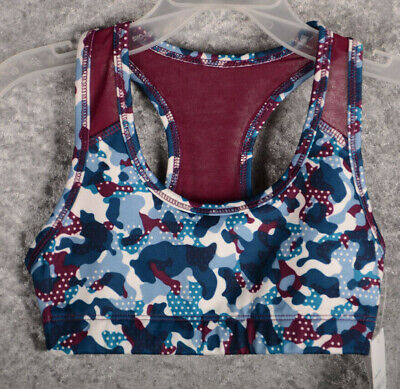 Girls Old Navy Active Sports Bra Dance Top Wicking Blue Camo Small 6 7  NEW NWT